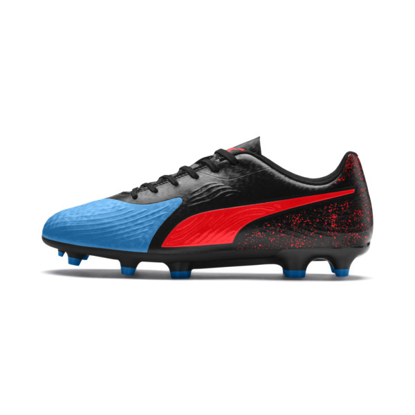 PUMA ONE 19.4 FG/AG Men's Football Boots, Bleu Azur-Red Blast-Black, large