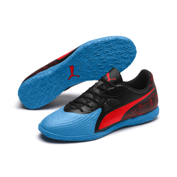 PUMA ONE 19.4 IT Herren Fußballschuhe, Bleu Azur-Red Blast-Black, large