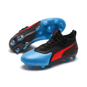 Thumbnail 2 of PUMA ONE 19.1 FG/AG Youth Football Boots, Bleu Azur-Red Blast-Black, medium