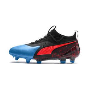 Thumbnail 1 of PUMA ONE 19.1 FG/AG Youth Football Boots, Bleu Azur-Red Blast-Black, medium