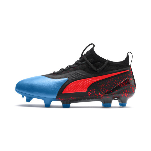 PUMA ONE 19.1 FG/AG Youth Football Boots, Bleu Azur-Red Blast-Black, large