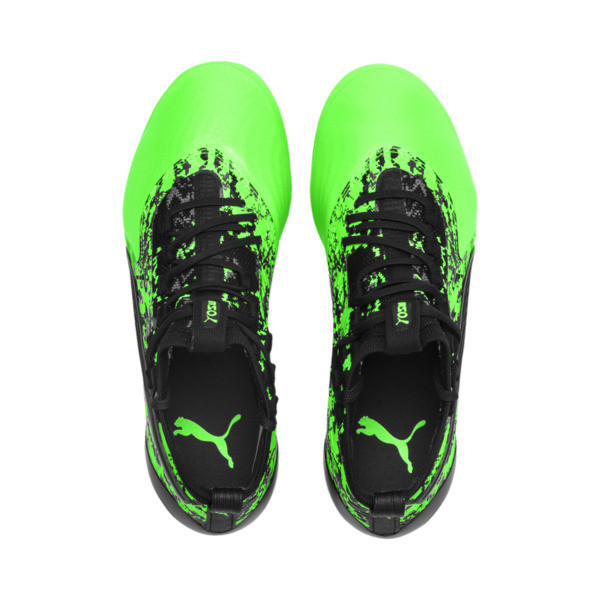 PUMA ONE 19.1 FG/AG Soccer Cleats JR, Green Gecko-Black-Gray, large