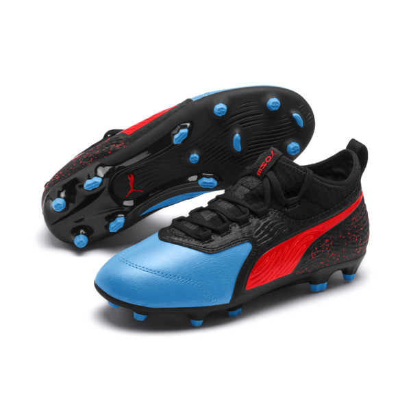PUMA ONE 19.3 FG/AG Soccer Cleats JR, Bleu Azur-Red Blast-Black, large