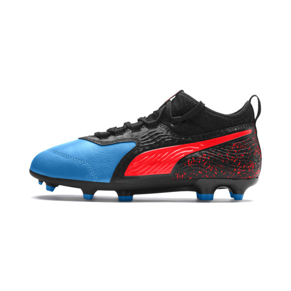 PUMA ONE 19.3 FG/AG Youth Football Boots, Bleu Azur-Red Blast-Black, large