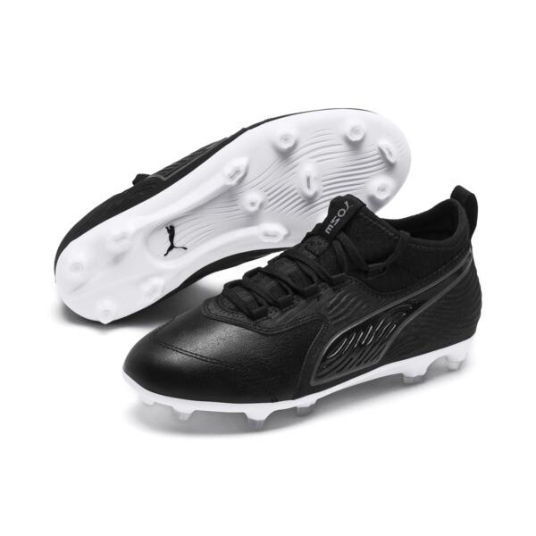 PUMA ONE 19.3 FG/AG Kinder Fußballschuhe, Puma Black-Puma Black-White, large