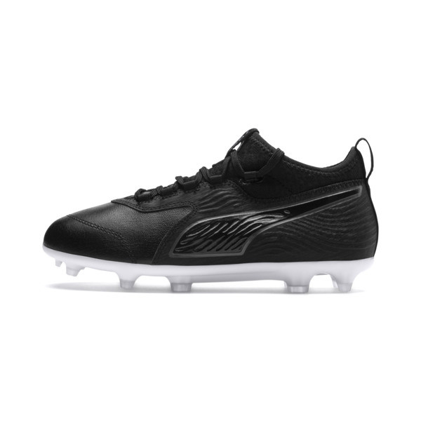 PUMA ONE 19.3 FG/AG Youth Football Boots, Puma Black-Puma Black-White, large