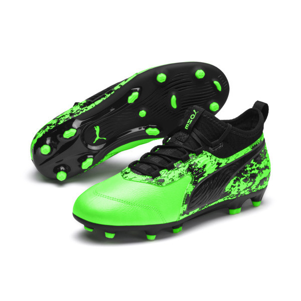 キッズ プーマ ワン 19.3 FG/AG JR (20-24.5cm), Green Gecko-Black-Gray, large-JPN