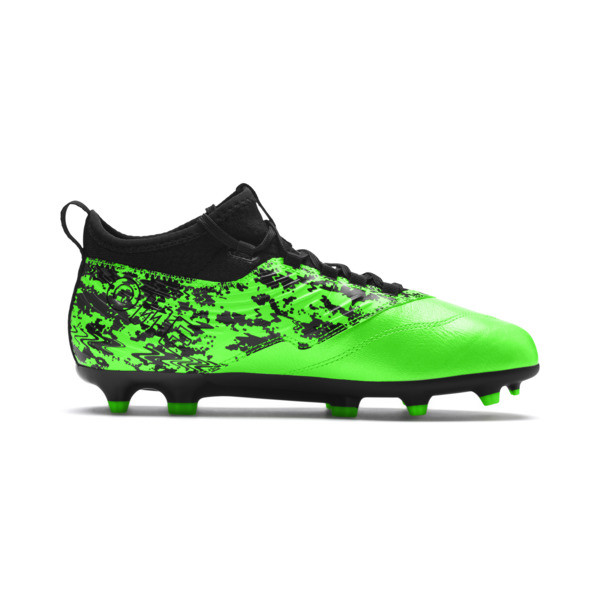 PUMA ONE 19.3 FG/AG Youth Football Boots, Green Gecko-Black-Gray, large