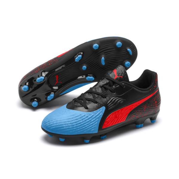 PUMA ONE 19.4 FG/AG Youth Football Boots, Bleu Azur-Red Blast-Black, large