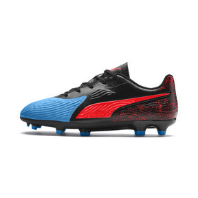 Thumbnail 1 of PUMA ONE 19.4 FG/AG Youth Football Boots, Bleu Azur-Red Blast-Black, medium