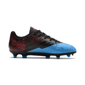 Thumbnail 5 of PUMA ONE 19.4 FG/AG Youth Football Boots, Bleu Azur-Red Blast-Black, medium