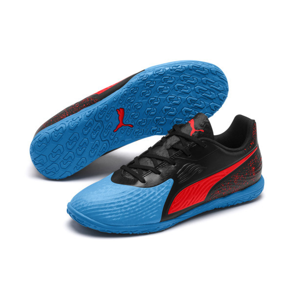 PUMA ONE 19.4 IT Soccer Shoes JR, Bleu Azur-Red Blast-Black, large
