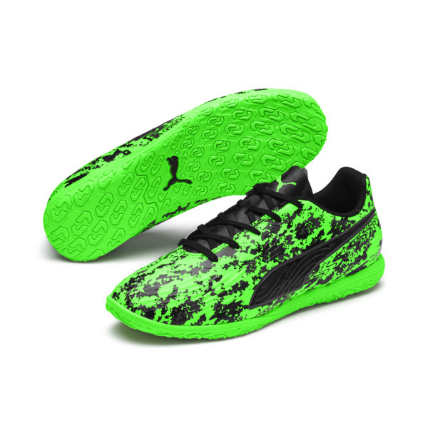 PUMA ONE 19.4 IT Soccer Shoes JR, Green Gecko-Black-Gray, large
