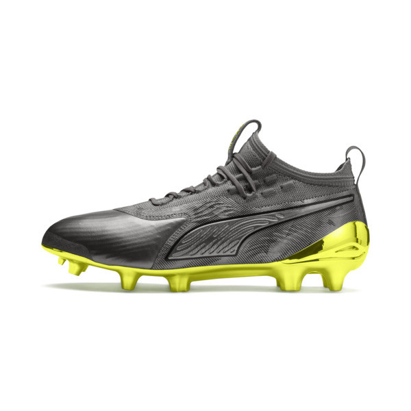 Chaussure de foot PUMA ONE 19.1 Limited Edition FG/AG pour homme, Puma Aged Silver-Gray-Yellow, large