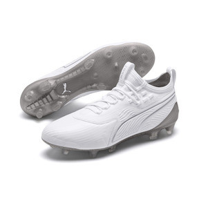 Thumbnail 2 of PUMA ONE 19.1 Ltd. Ed. FG/AG Men's Soccer Cleats, White-White-Charcoal Gray, medium