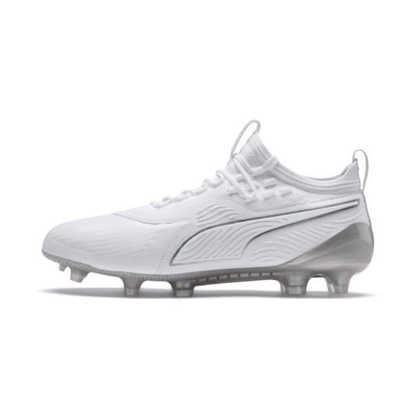PUMA ONE 19.1 Ltd. Ed. FG/AG Men's Soccer Cleats, White-White-Charcoal Gray, large