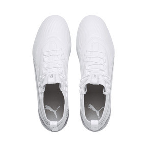 Thumbnail 5 of PUMA ONE 19.1 Ltd. Ed. FG/AG Men's Soccer Cleats, White-White-Charcoal Gray, medium