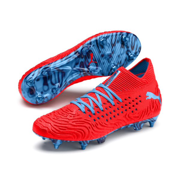 Chaussure de football FUTURE 19.1 NETFIT Mx SG, Red Blast-Bleu Azur, large