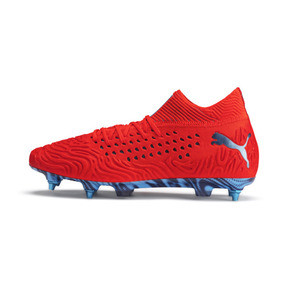 Thumbnail 1 of Chaussure de football FUTURE 19.1 NETFIT Mx SG, Red Blast-Bleu Azur, medium