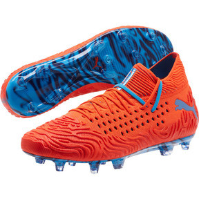 Thumbnail 3 of FUTURE 19.1 NETFIT FG/AG Men's Soccer Cleats, Red Blast-Bleu Azur, medium