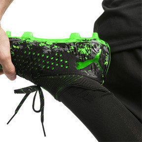Thumbnail 3 of FUTURE 19.1 NETFIT FG/AG Men's Soccer Cleats, Black-Gray-Green Gecko, medium