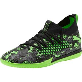 Thumbnail 1 of FUTURE 19.3 NETFIT IT Men's Soccer Shoes, Black-Gray-Green Gecko, medium