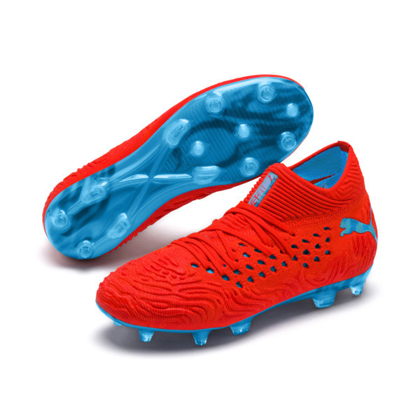FUTURE 19.1 NETFIT FG/AG Youth Football Boots, Red Blast-Bleu Azur, large