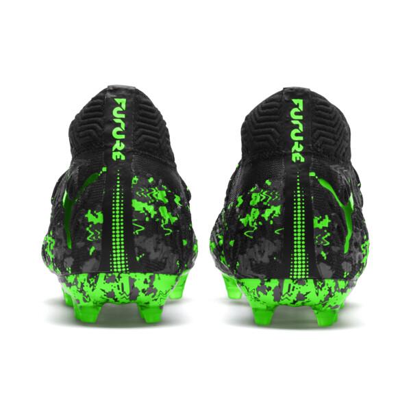 FUTURE 19.1 NETFIT FG/AG Kinder Fußballschuhe, Black-Gray-Green Gecko, large