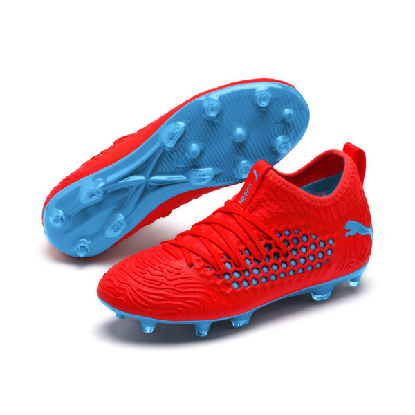 FUTURE 19.3 NETFIT FG/AG Youth Football Boots, Red Blast-Bleu Azur, large
