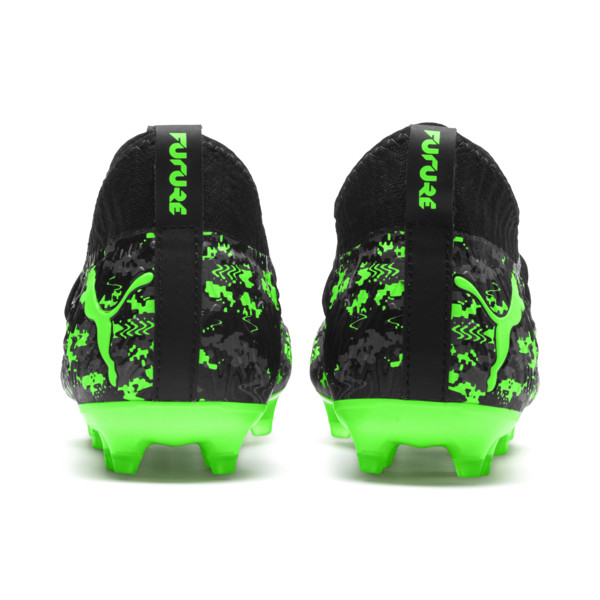 FUTURE 19.3 NETFIT FG/AG Youth Football Boots, Black-Gray-Green Gecko, large
