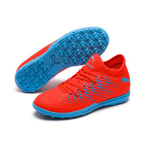 Thumbnail 2 of Chaussure de football FUTURE 19.4 TT Youth, Red Blast-Bleu Azur, medium