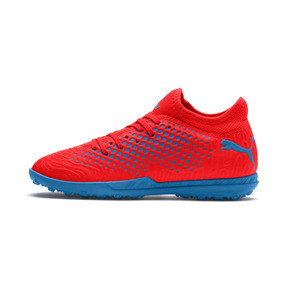 Thumbnail 1 of Chaussure de football FUTURE 19.4 TT Youth, Red Blast-Bleu Azur, medium