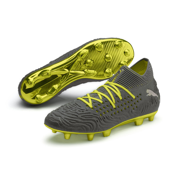 FUTURE 19.1 Limited Edition FG/AG Men's Football Boots, Puma Aged Silver-Gray-Yellow, large