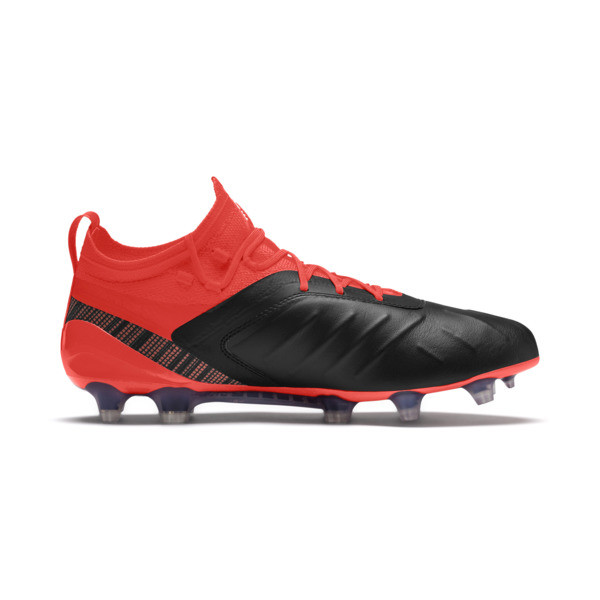 PUMA ONE 5.1 FG/AG Men's Soccer Cleats, Black-Nrgy Red-Aged Silver, large