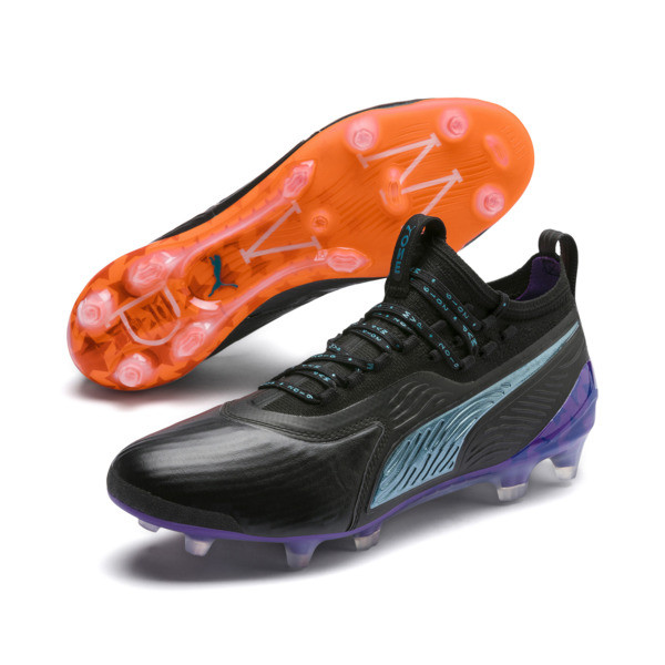 PUMA ONE 19.1 MVP FG/AG Men's Soccer Cleats, Black-cari sea-purple-orange, large
