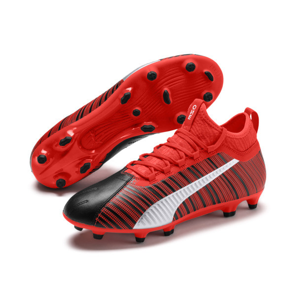PUMA ONE 5.3 FG/AG Men's Soccer Cleats, Black-Nrgy Red-Aged Silver, large