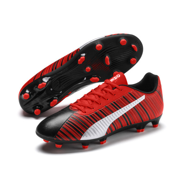 PUMA ONE 5.4 FG/AG Men's Soccer Cleats, Black-Nrgy Red-Aged Silver, large