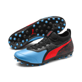 Thumbnail 2 of PUMA ONE 19.3 MG Men's Football Boots, Bleu Azur-Red Blast-Black, medium