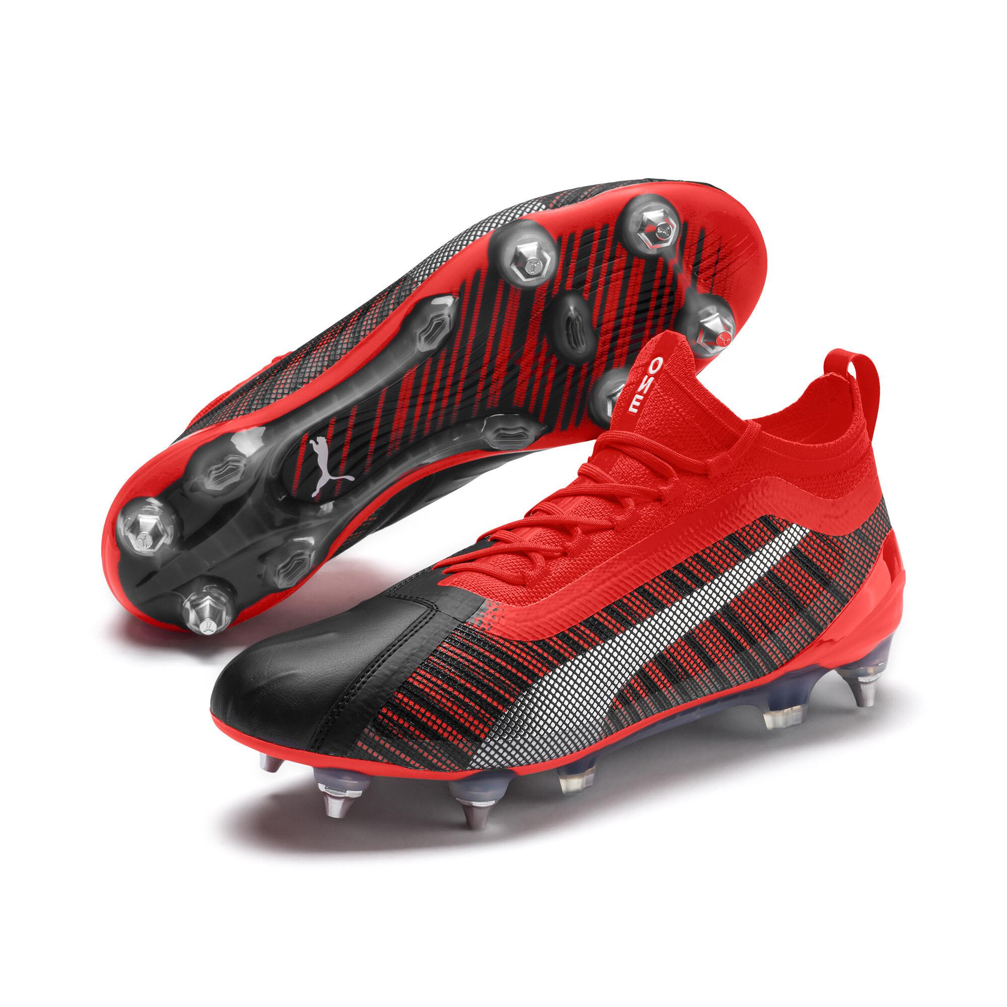<プーマ公式通販> プーマ ワン 5.1 MX SG サッカースパイク ユニセックス Black-Nrgy Red-Aged Silver <2019秋冬コレクション>