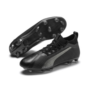 Thumbnail 3 of PUMA ONE 5.2 FG/AG Men's Soccer Cleats, Black-Black-Puma Aged Silver, medium