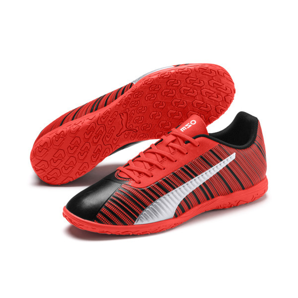 PUMA ONE 5.4 IT Men's Soccer Shoes, Black-Nrgy Red-Aged Silver, large