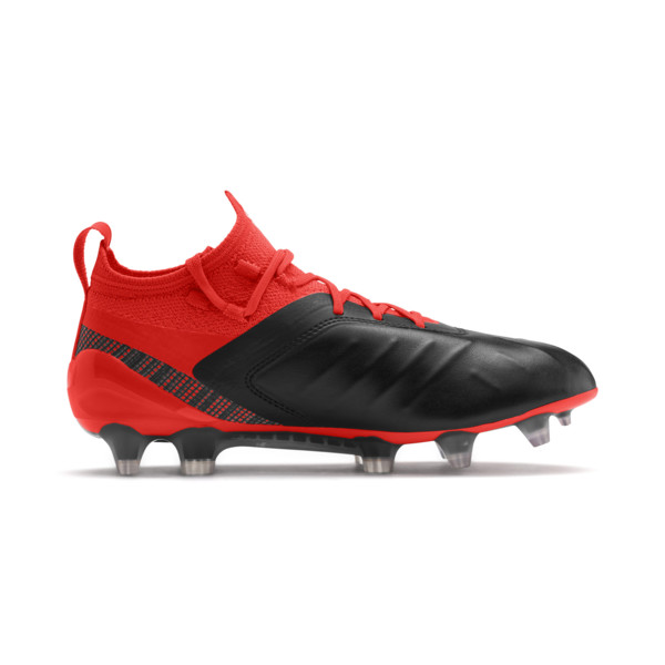 PUMA ONE 5.1 FG/AG Soccer Cleats JR, Black-Nrgy Red-Aged Silver, large