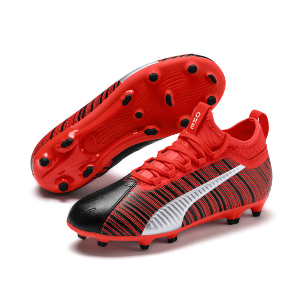 PUMA ONE 5.3 FG/AG Soccer Cleats JR, Black-Nrgy Red-Aged Silver, large