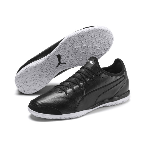 King Pro IT Soccer Shoes, Puma Black-Puma White, large