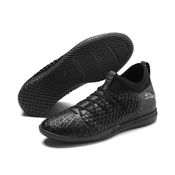 FUTURE 4.3 NETFIT IT Men's Soccer Shoes, Black-Black-Puma Aged Silver, large