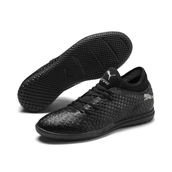 FUTURE 4.4 IT Men's Soccer Shoes, Black-Black-Puma Aged Silver, large