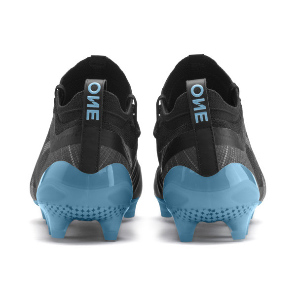 PUMA ONE 5.1 City FG/AG Men's Soccer Cleats, Black-Sky Blue-Silver, large
