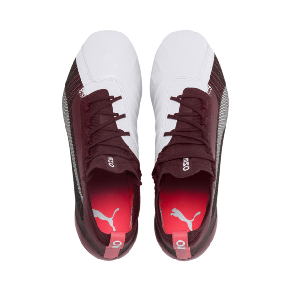 PUMA ONE 5.1 FG/AG Women's Soccer Cleats, White-Vineyard Wine-Silver, large