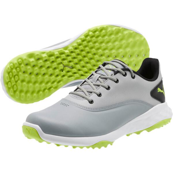 GRIP FUSION Men's Golf Shoes, Quarry-Acid Lime-Black, large