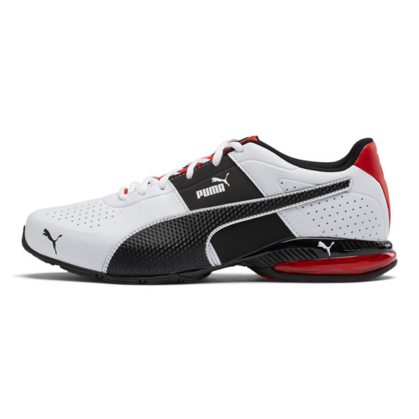 CELL Surin 2 FM Men's Running Shoes, White-Black-flame scarlet, large